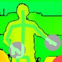 A kinect video image of a student performing sign language.